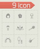 image of barber  - Vector Barber icon set on grey background - JPG