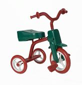 image of tricycle  - Retro red and green tricycle brings back memories of youth  - JPG