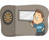 stock photo of patron  - Illustration of a Bar Patron Trying to Hit the Dartboard - JPG