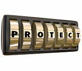 picture of precaution  - Protect word in letters on gold safe or lock dials to illustrate taking steps to ensure security and safety through precaution and insurance - JPG