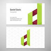 pic of letter d  - Modern letter D origami Business card template - JPG
