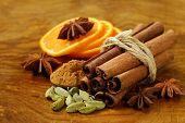 stock photo of cinnamon sticks  - fragrant cinnamon sticks - JPG
