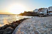 foto of volcanic  - Volcanic Tropical Beach in the Canary Islands - JPG