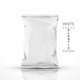 stock photo of packages  - white snack plastic packaging isolated on white background - JPG