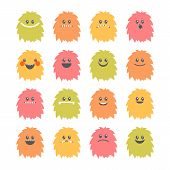 Постер, плакат: Set Of Cartoon Smiley Monsters Collection Of Different Cute And Funny Fluffy Monsters Characters