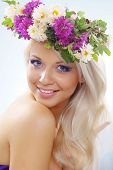 picture of youg  - Beautiful youg girl wearing floral wreath closeup - JPG