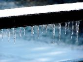 Winter Icsicles On A Wooden Porch Beem On A Cold Winter Day. poster
