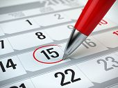 Постер, плакат: Concept of important day reminder organizing time and schedule red pen marking day of the month
