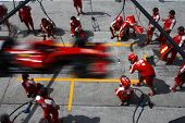 SEPANG, MALAYSIA - APRIL 4: Scuderia Ferrari Marlboro crews does pit-stop practice at the 2009 F1 Pe