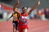 KUALA LUMPUR - AUGUST 15: Thailand's visually impaired athlete Phimnara Piamthanakankun celebrates a