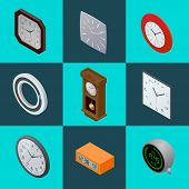 Постер, плакат: Set of elegant clocks Pendulum clock modern clock Digital clock clock Flat 3d Vector illustratio