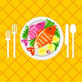 Постер, плакат: Cartoone fish dish illustration