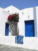 picture of house rent  - traditional house white and blue in folegandros island in greece - JPG