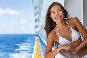 Cruise ship Caribbean travel vacation Asian woman tourist in bikini enjoying deck on troipcal holida poster