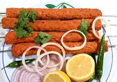 foto of kababs  - seekh kabab food in plate ready to eat