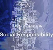 Background concept wordcloud illustration of social responsibility international