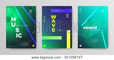 poster of Sound Wave Poster. Vibrant Electronic Round. Music Festival Poster. Modern Dj Banner. Vibrant Fluid
