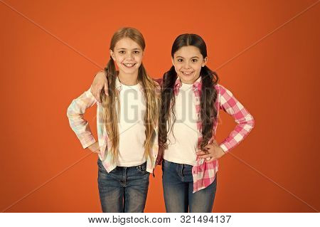 poster of Long Hair Feminine Attribute. Girls Usually Let Their Hair Grow Long. Healthy And Shiny Hair. Kid Cu