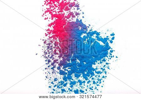 poster of Abstract colorful Happy Holi background. Color vibrant powder isolated on white. Dust colored splash