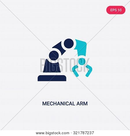 poster of two colored mechanical arm vector icon from artificial intelligence.