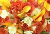 image of yellow rose  - Wedding bouquet filled with colorful roses and lilies - JPG