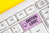Writing Note Showing Emotion Logic. Business Photo Showcasing Heart Or Brain Soul Or Intelligence Co poster