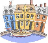 Vector Illustration. View Of The Colorful Facades Medieval Colorful Houses On The Nyhavn Canal. Cope poster
