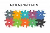 Risk Management Cartoon Template With Flat Elements. Contains Such Icons As Control, Identify, Level poster