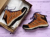 Pair Of Womens  Waterproof Hiking Boots. Fashion Outfit, Autumn Winter Collection. Shopping Concept poster
