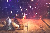 Christmas Decor With Bright Bokeh Lights. Magic Winter At Christmas Time poster