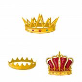 Isolated Object Of Monarchy And Gold Sign. Collection Of Monarchy And Heraldic Stock Symbol For Web. poster
