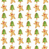 Christmas Gingerbread Seamless Pattern. Ginger Man. Ginger Biscuits And A Christmas Tree On A White  poster