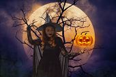 Halloween Witch With Pumpkin Monster Head Over Dead Tree, Full Moon And Spooky Cloudy Sky, Halloween poster