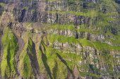 Scenic Green Rocky Mountain Fjord Landscape In Faroe Islands. Denmark poster