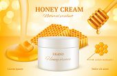 Honey Cosmetics. Nature Sweet Golden Skin Care Natural Product Advertising Packages Woman Cosmetic H poster