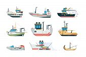 Fishing Ship. Marine Sea Or Ocean Transport Different Fishing Sailing Boats Vector Flat Pictures. Fi poster