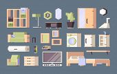 Furniture Living Room. Tables Desk Chairs Bed Vector Orthogonal Flat Pictures. Illustration Furnitur poster