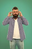 Music. Brutal Caucasian Hipster With Moustache. Happy Man Hipster Listen To Music. Bearded Man. Hair poster
