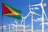 Guyana Alternative Energy, Wind Energy Industrial Concept With Windmills And Flag - Alternative Rene poster