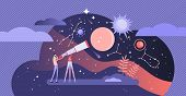 Astronomy Vector Illustration. Flat Tiny Space Research Study Person Concept. Explore Stars And Gala poster