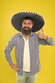 Lets Have Fun. Mexican Guy Happy Festive Outfit Ready To Celebrate. Man Bearded Cheerful Guy Wear So poster