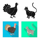 Vector Design Of Breeding And Kitchen Sign. Set Of Breeding And Organic Vector Icon For Stock. poster