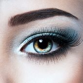 womans eye with blue eye makeup. Macro style image poster