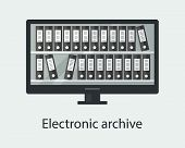 Electronic Archive Concept. Folders With Documents In The Computer. Vector Illustration poster