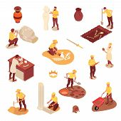 Archeology Isometric Icons Set With Scientists Their Equipment And Ancient Artifacts Isolated On Whi poster