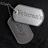 Old and worn military dog tags - Veterans Day poster
