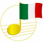 Italy Flag And Musical Note. Music Background. National Flag Of Italy And Music Festival Concept Vec poster