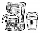 Coffee Beverage Poured In Plastic Cup Vector, Monochrome Sketch Outline Set. Colorless Drink In Coff poster