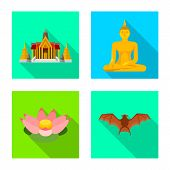 Isolated Object Of Journey And Exotic Sign. Set Of Journey And National Vector Icon For Stock. poster