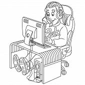 Colouring Page. Cute Cartoon Video Gamer, Cyber E-sport Professional In Work. Childish Design For Ki poster